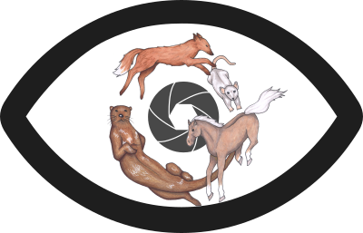 An eye shaped logo  with a fox, otter, horse, and mouse